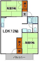 兵庫県姫路市飾磨区中野田3の賃貸アパートの間取り