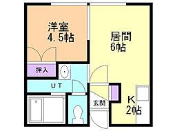 岩崎マンション西野2・3 2階1DKの間取り