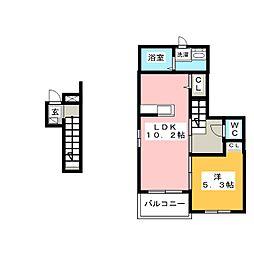 愛知県名古屋市中川区明徳町1丁目の賃貸アパートの間取り