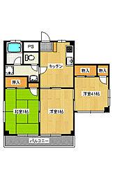 栃木県宇都宮市中久保2丁目の賃貸マンションの間取り