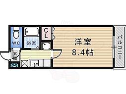 白鷺TKハイツ1号館 5階1Kの間取り