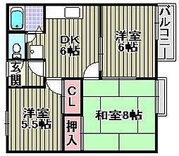 田園ハイツOKUDA[202号室]の間取り