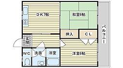 大阪府高槻市栄町4丁目の賃貸マンションの間取り