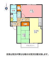徳島県鳴門市瀬戸町明神字上本城の賃貸アパートの間取り