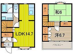 [テラスハウス] 埼玉県さいたま市浦和区木崎5丁目 の賃貸【埼玉県 / さいたま市浦和区】の間取り