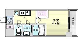 阪急京都本線 淡路駅 徒歩2分の賃貸マンション 4階1Kの間取り