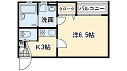 南海線 春木駅 徒歩9分の賃貸アパート 1階1Kの間取り