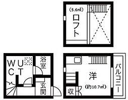 Casa Grigio(カーサ グリージョ) 2階1Kの間取り