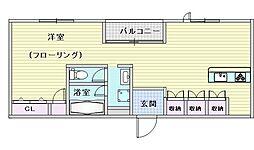 阪急千里線 豊津駅 徒歩1分の賃貸マンション 3階ワンルームの間取り