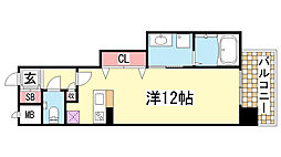 プレジール三ノ宮3[506号室]の間取り