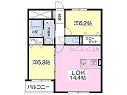 ease美田園 3階2LDKの間取り