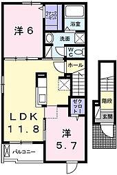 網干区新在家アパート1[2階]の間取り