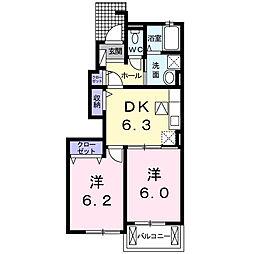 兵庫県赤穂市尾崎の賃貸アパートの間取り