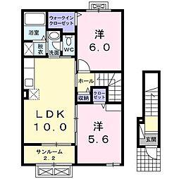 富山県富山市八尾町福島7丁目の賃貸アパートの間取り