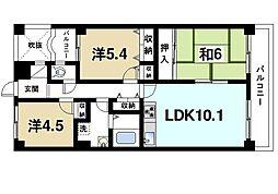 GSハイム生駒[2階]の間取り