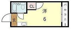 ユニコーン82西野 3階ワンルームの間取り
