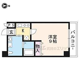 阪急京都本線 西院駅 徒歩10分の賃貸マンション 4階1Kの間取り
