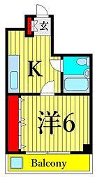 JR高崎線 尾久駅 徒歩6分の賃貸マンション 3階1DKの間取り