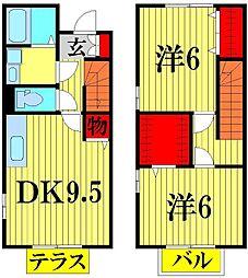 埼玉県川口市大字差間の賃貸アパートの間取り