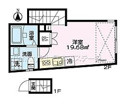 東急大井町線 荏原町駅 徒歩3分の賃貸アパート 2階ワンルームの間取り