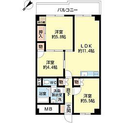 シャレー三井[402号室]の間取り