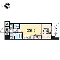 THE GARNET MILLENNIUM KYOTO九条烏丸501 5階1DKの間取り