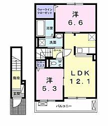 Lien Kurinoki B[202号室]の間取り
