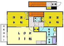 美穂の里 五番館[2階]の間取り