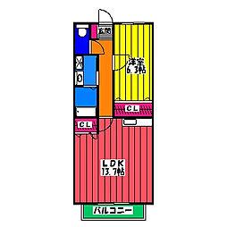 福岡県福岡市博多区月隈2丁目の賃貸アパートの間取り