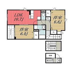 京成本線 京成成田駅 バス22分 三里塚小学校前下車 徒歩5分の賃貸アパート 3階2LDKの間取り