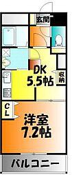 岡山県岡山市北区大供表町の賃貸マンションの間取り