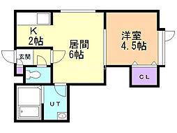 ケントハウスII 1階1DKの間取り