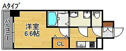 南海線 住ノ江駅 徒歩4分の賃貸マンション 8階1Kの間取り
