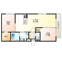 近鉄南大阪線 河堀口駅 徒歩2分の賃貸アパート 2階2LDKの間取り