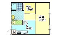 エトワールコーポ[2B号室号室]の間取り