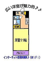 ハーミットクラブ東館 1階1Kの間取り