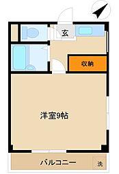 矢島ハイツ 3階1Kの間取り