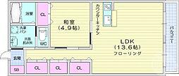 仙台市営南北線 北四番丁駅 徒歩18分の賃貸アパート 1階1LDKの間取り