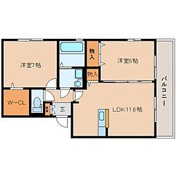 JR関西本線 大和小泉駅 徒歩2分の賃貸アパート 2階2LDKの間取り