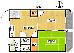 阪下ハウスマンション[6階]の間取り