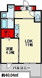フェリシエ三萩野 9階1LDKの間取り