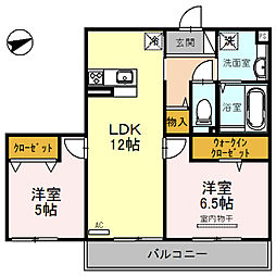 大阪府東大阪市玉串町西3丁目の賃貸アパートの間取り