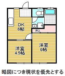 愛知県名古屋市千種区本山町2丁目の賃貸アパートの間取り