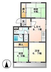 愛知県名古屋市中村区二瀬町の賃貸マンションの間取り