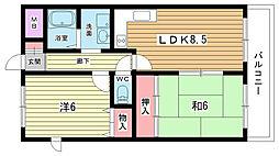 大阪府豊中市寺内1丁目の賃貸マンションの間取り