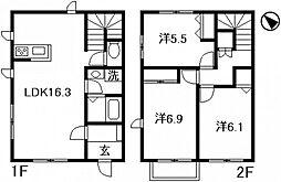 [タウンハウス] 広島県広島市西区庚午北3丁目 の賃貸【/】の間取り