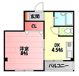 ジュノ藤田 2階1DKの間取り