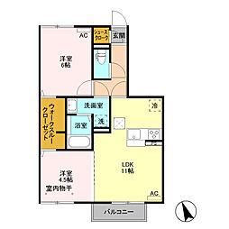 (仮)D−room富士見町 A棟[105号室]の間取り
