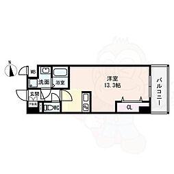 (仮)西大寺南マンション 5階ワンルームの間取り