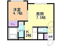 仮)菊水3-2MS 3階1LDKの間取り